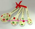 Ganz Holiday Ceramic Measuring Spoons Set of 4