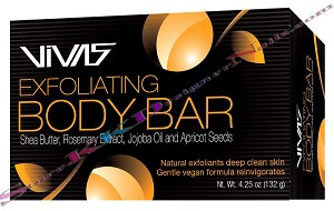Vivas Exfoliating Body Bar with Shea Butter, Rosemary Extract, Jojoba Oil and Apricot Seeds 4.25oz
