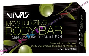 Vivas Moisturizing Body Bar with Shea Butter, Olive Oil  & Vitamin E Oil 4.25oz